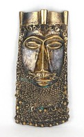 1C904 Lovagkirály iparművészeti bronz falidísz 19.5 cm