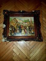 Pólya T. Szignós olaj festmény fára