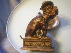 U7 Antik bank karikatúra persely Bull Dog öntvény borostyán szem 2.3 kg ajándékozhatóan
