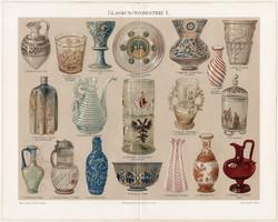 Üvegművészet I. (2), 1894, litográfia, német, eredeti, színes nyomat, üveg, üvegipar, váza, dísz