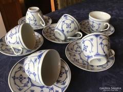 Porcelán, ritkaság, 1900-as Kalk Eisenberg kávés 6 fős,