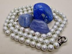 Szépséges Fehér zománcozott mágneses gyöngy ékszerszett ezüst szerelékkel
