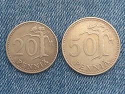 Finnország 20, 50 Pennia - Finn Pennia 1976, 1971 pénz érme