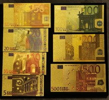 Aranyozott plasztik euró sor 7db!