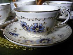 Zsolnay, búzavirágos, 6 személyes, kávés készlet