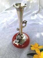 925 ös ezüst díszítéses antik üveg váza