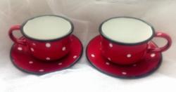 Régi zománcos piros pöttyös kávés csésze párban