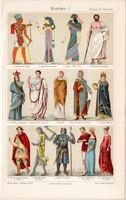 Divat, öltözködés, ruha, litográfia 1905, eredeti, német, ókor, középkor, öltözet, viselet, kosztüm