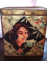FROMMEL különlegesen hatalmas fém tea doboz  31 x 21 x 33 cm