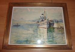 Major Jenő: Balatoni kikötő, jelzett akvarell 1950