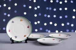 Zsolnay porcelán kis tányérok, 4 darab, jelzett, számozott, régi.