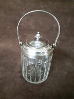 Antik art-deco fedeles füles mustártartó vagy cukortartó ezüstözött alpakka és csiszolt üveg