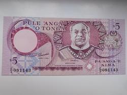 Tonga 5 paanga  1995 UNC