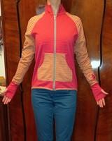 Iparművészeti zippzáras pamut sportos felső trendi színekben: magenta-pisztácia - S méretben eladó