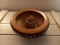 Hódmezővásárhelyi kerámia ikebana tál_jelzett
