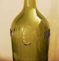Háború előtti zöld 2 literes kristályvizes üveg palack koronás címerrel