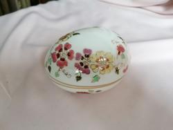Zsolnay kézzel festett virágdekoros tojás formájú bonbonier