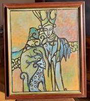 Béres János: TÉL című vegyes technikával farostra festve
