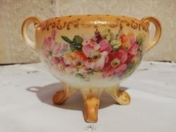 Eladó régi porcelán angol virág mintás kaspó virág rendezővel!