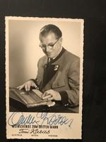 Toni Karas által aláírt képeslap