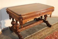 Antik reneszánsz stílusú dúsan faragott asztal,íróasztal!