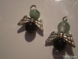 ÓNIX - zöld ACHÁT két angyalka
