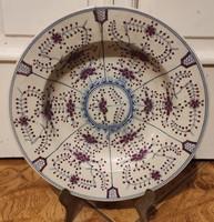 Antik Zsolnay tàl tànyér,kézi festett, gyönyörű dekoratív darab