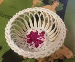 Herendi Apponyi purpur mintás fonott kosárka