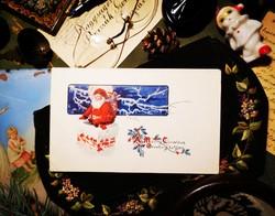 Antik postatiszta karácsonyi képeslap Mikulással