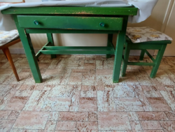 Retro zöld fiókos asztal