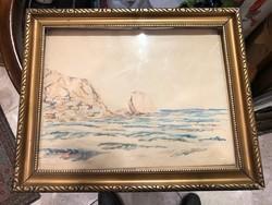 Feloldatlan szignóval tengerpart festmény, 25x32, 1931-ből.