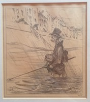Honoré Daumier(1808-1879): Horgász legény. Jelzett, eredeti litográfia!