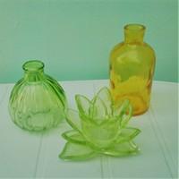 Különleges formák és színek, mécses tartó színes üvegekkel, 3 db együtt