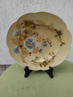 Antik Zsolnay kínáló, tányér, Asztalközépnek, dísznek dekorációnak Csalàdi pecsétes virágokkal.