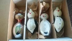 Fújt üveg retro figurás karácsonyfadíszek