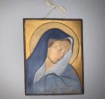 Dr. Rank Rezső kerámia falikép Szűz Mária (Madonna) 33 x 22,5 cm.