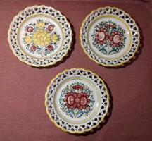 Kerámia tál, tányér falitál, 3 db, Modra, kézműves munka, garnitúra, készlet