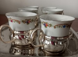 6 személyes vintage mokkás készlet kivehető pohártartóval