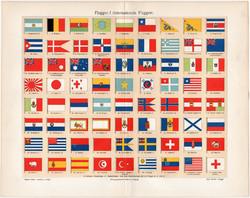 Zászlók I., színes nyomat 1903, német nyelvű, litográfia, zászló, nemzetközi, ország, lobogó, régi