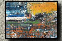 """""""Orange"""" koso painting, huge 100 x 140 cm, framed action"""