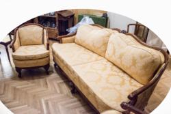 Neobarokk  ülőgarnitúra, kanapé és két fotel, felújított