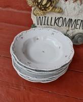 6 db Zsolnay  kicsi  virágos tányérok, tányér,  mélytányér ,lapostányér