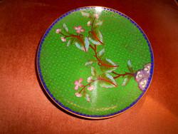 Tűz zománc  (Cloissoné)  antik tál 16,5 cm