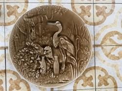 Óriási 53 cm méretű falitál, hihetetlen darab, Majolika, kerámia Gyüjteménybe Schütz, Znaim?