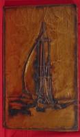 Vitorlás a tavon - rézlemez kép a 60-70-es évekből, 55 x 33 cm
