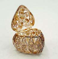 Filigrán ezüst Szív formával, szelence aranyozva 925-ös