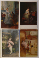 4 db motívum-üdvözlőlap, 1910-es évek, vegyes kiadások