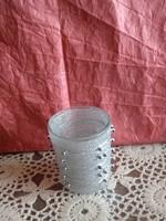 Ezüst gyöngyös mécsestartó pohár karácsonyi dekoráció, ajánljon!