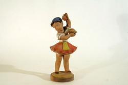 Gondos József Kerámia Almaszedő Kislány 28cm Figura Almaszüret Hibátlan