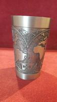 Nagy ón pohár történelmi és térképészeti motívumokkal